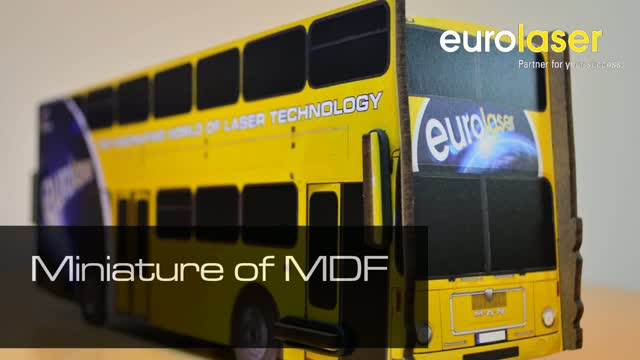 eurolaser event bus printed on MDF | Laser cutting
